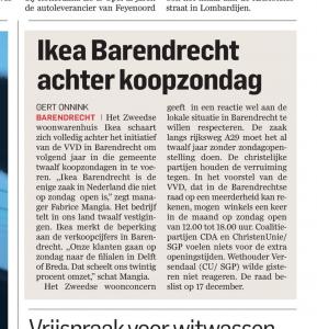 AD Ikea Barendrecht achter koopzondag